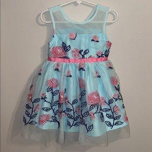 Girls 2T spring dress easter blue tulle toddler